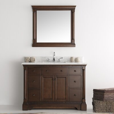 Kingston 48 Single Bathroom Vanity Set with Mirror Base Finish: Antique Coffee