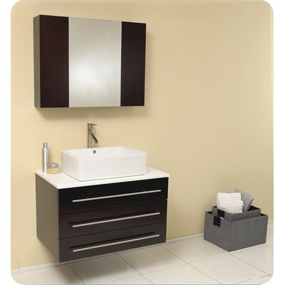 Stella 32 Single Modello Modern Bathroom Vanity Set with Mirror Base Finish: Espresso, Top Finish: White