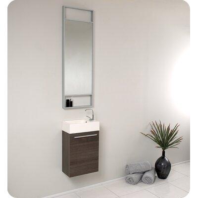 Senza 16 Single Bathroom Vanity Set with Mirror Base Finish: Gray Oak
