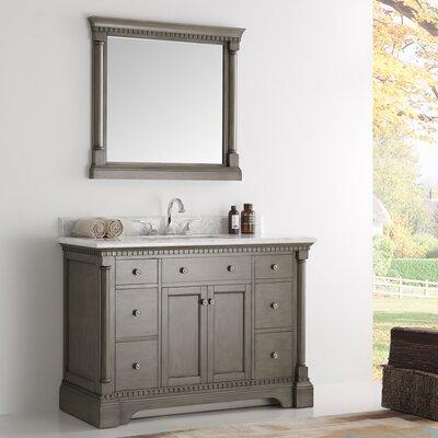 Kingston 48 Single Bathroom Vanity Set with Mirror Base Finish: Antique Silver