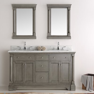 Kingston 60 Double Sink Bathroom Vanity with Mirror