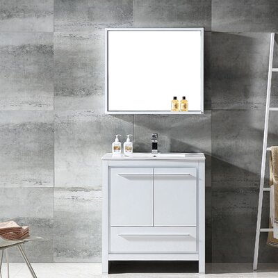 Allier 30 Single Bathroom Vanity Set with Mirror Base Finish: White