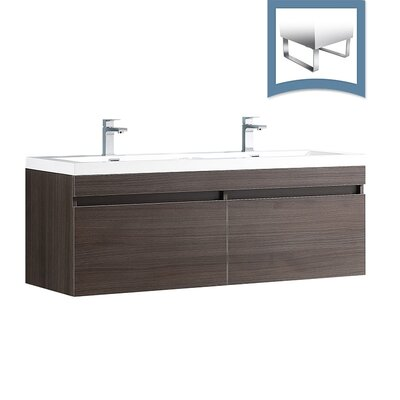 Largo 57 Single Bathroom Vanity Set Base Finish: Gray Oak