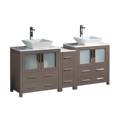 Torino 72 Double Bathroom Vanity Set Base Finish: Gray Oak