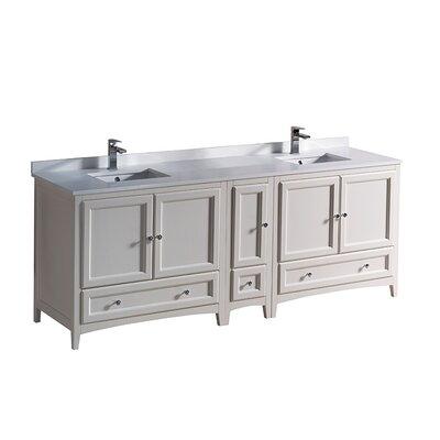 Oxford 84 Double Bathroom Vanity Set Base Finish: Antique White