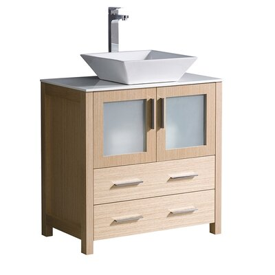 Torino 30 Single Bathroom Vanity Set Base Finish: Light Oak