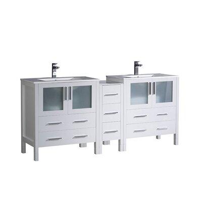 Torino 72 Double Bathroom Vanity Set Base Finish: White