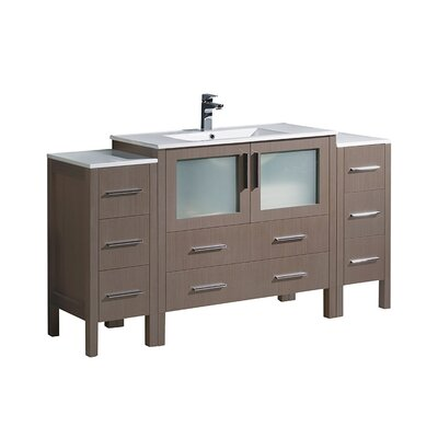 Torino 60 Single Bathroom Vanity Set Base Finish: Gray Oak