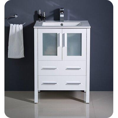 Torino 24 Single Bathroom Vanity Set Base Finish: White