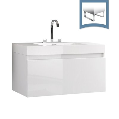 Mezzo 39 Single Bathroom Vanity Set Base Finish: White