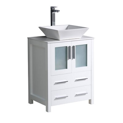 Torino 24 Single Bathroom Vanity Set Base Finish: White