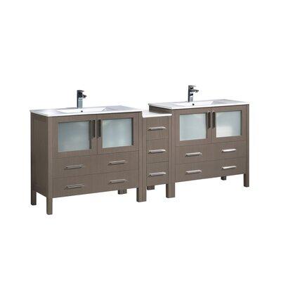 Torino 84 Double Bathroom Vanity Set Base Finish: Gray Oak