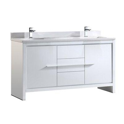Allier 60 Double Bathroom Vanity Set Base Finish: White