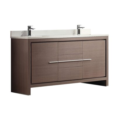 Allier 60 Double Bathroom Vanity Set Base Finish: Gray Oak