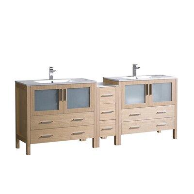 Torino 84 Double Bathroom Vanity Set Base Finish: Light Oak