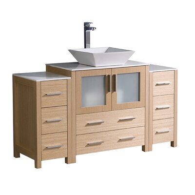 Torino 54 Single Bathroom Vanity Set Base Finish: Light Oak