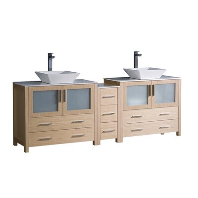 Torino 84 Double Bathroom Vanity Set Base Finish: Light Oak