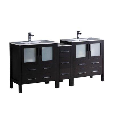 Torino 72 Double Bathroom Vanity Set Base Finish: Espresso