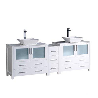 Torino 84 Double Bathroom Vanity Set Base Finish: White