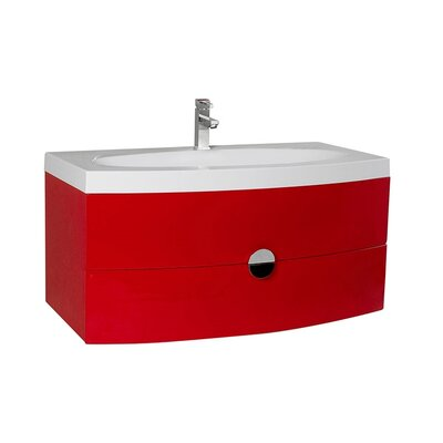 Energia 36 Single Bathroom Vanity Set Base Finish: Red