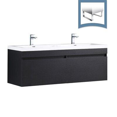 Largo 57 Single Bathroom Vanity Set Base Finish: Black