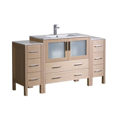 Torino 60 Single Bathroom Vanity Set Base Finish: Light Oak