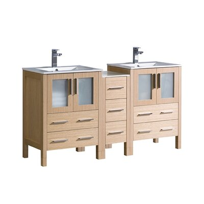 Torino 60 Double Bathroom Vanity Set Base Finish: Light Oak