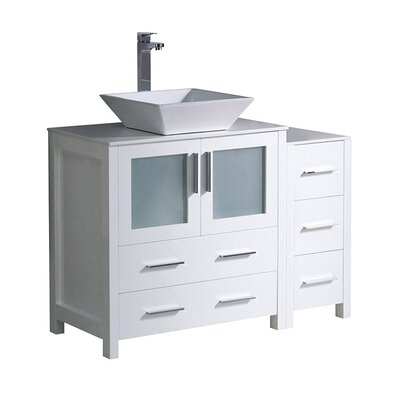 Torino 42 Single Bathroom Vanity Set Base Finish: White