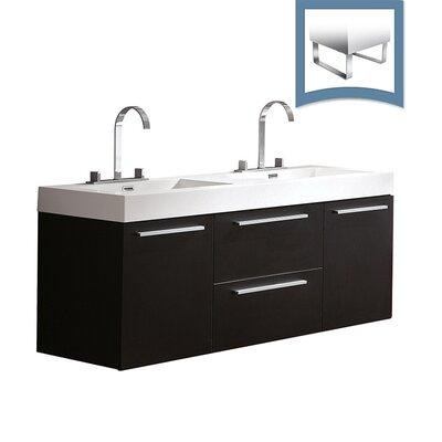 Opulento 54 Double Bathroom Vanity Set Base Finish: Black