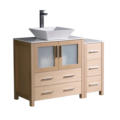 Torino 42 Single Bathroom Vanity Set Base Finish: Light Oak