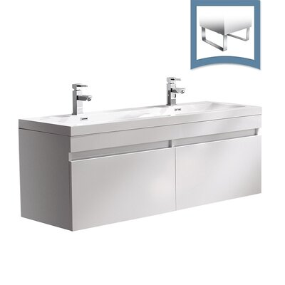 Largo 57 Single Bathroom Vanity Set Base Finish: White