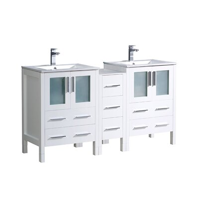Torino 60 Double Bathroom Vanity Set Base Finish: White