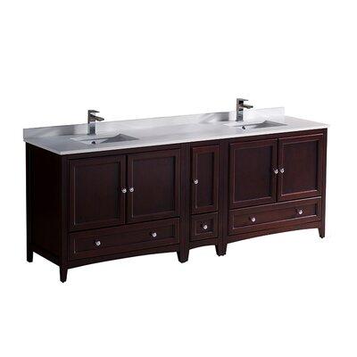 Oxford 84 Double Bathroom Vanity Set Base Finish: Mahogany