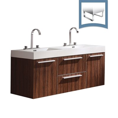Opulento 54 Double Bathroom Vanity Set Base Finish: Walnut