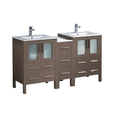 Torino 60 Double Bathroom Vanity Set Base Finish: Gray Oak