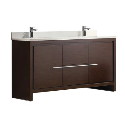 Allier 60 Double Bathroom Vanity Set Base Finish: Wenge Brown