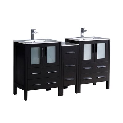 Torino 60 Double Bathroom Vanity Set Base Finish: Espresso