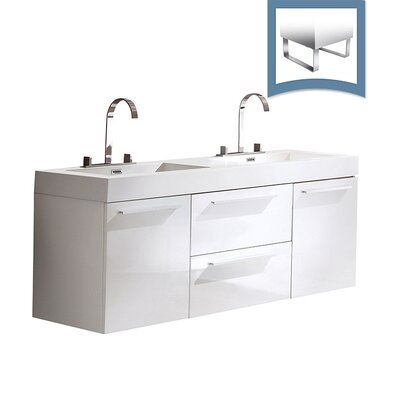 Opulento 54 Double Bathroom Vanity Set Base Finish: White