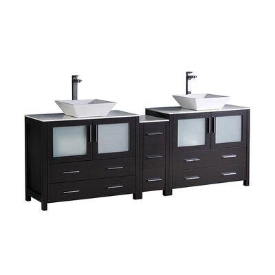 Torino 84 Double Bathroom Vanity Set Base Finish: Espresso