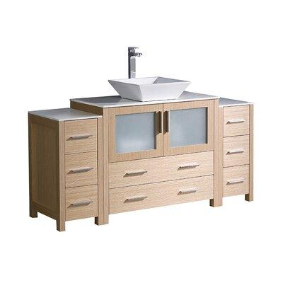 Torino 60 Single Bathroom Vanity Set Base Finish: Light Oak