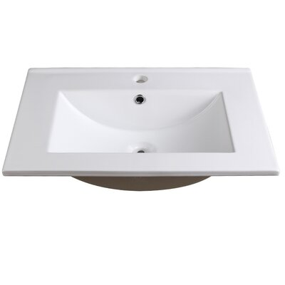 Allier Ceramic Rectangular Drop-In Bathroom Sink with Overflow