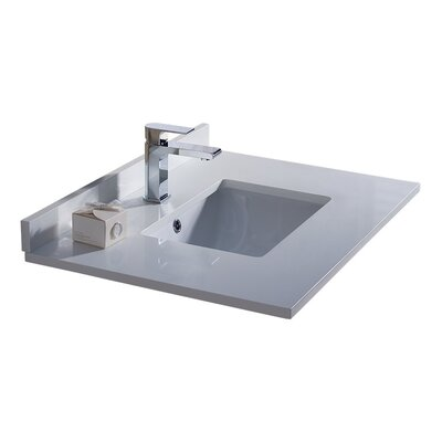 Oxford Ceramic Rectangular Drop-In Bathroom Sink with Overflow