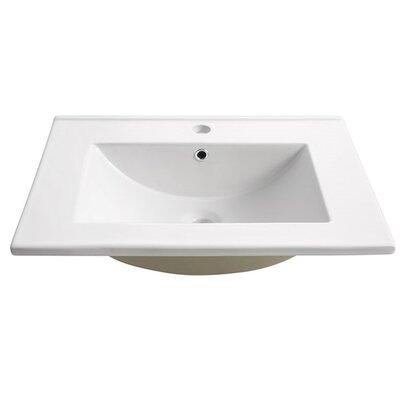 Torino Ceramic Rectangular Drop-In Bathroom Sink with Overflow
