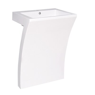 Quadro 24 Pedestal Bathroom Sink with Overflow