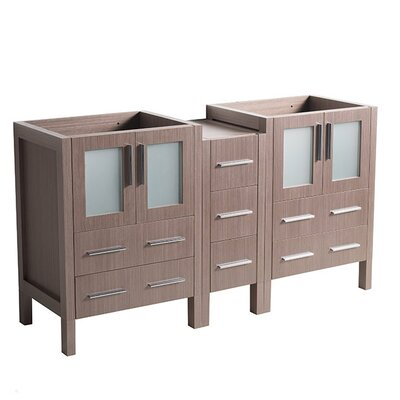 Torino 60 Double Bathroom Vanity Base Base Finish: Gray Oak