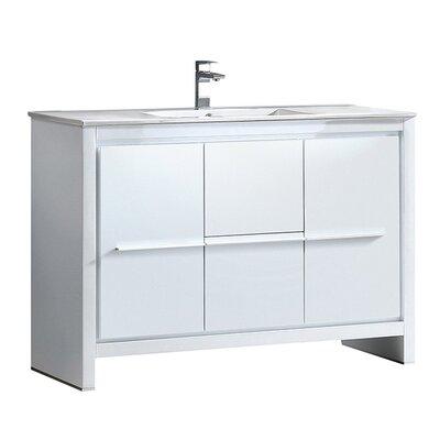 Allier 48 Single Bathroom Vanity Set Base Finish: White