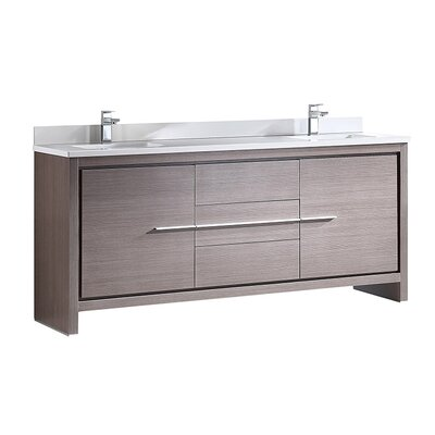 Allier 72 Double Bathroom Vanity Set Base Finish: Gray Oak