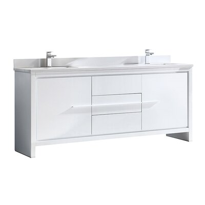 Allier 72 Double Bathroom Vanity Set Base Finish: White