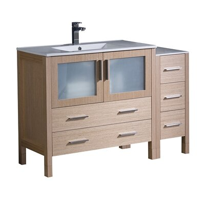 Torino 48 Single Bathroom Vanity Set Base Finish: Light Oak