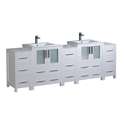 Torino 84 Double Bathroom Vanity Set Base Finish: White